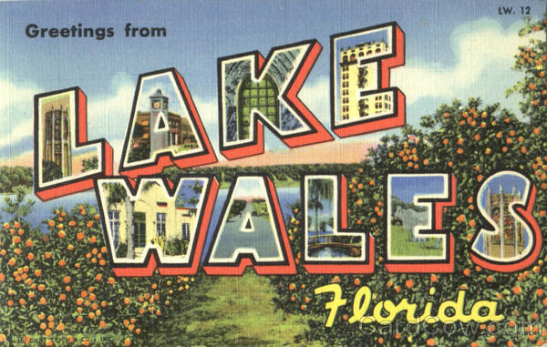 Greetings From Lake Wales Florida Large Letter