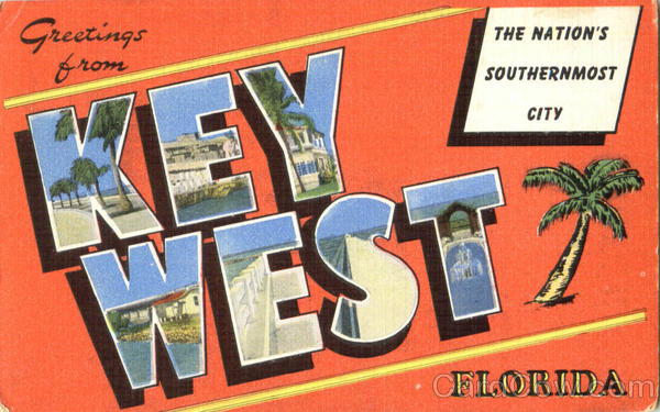 Greetings From Key West Florida Large Letter