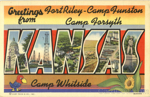Greetings From Kansas Fort Riley Large Letter