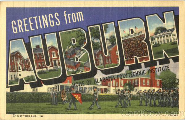 Greetings From Auburn Alabama Large Letter