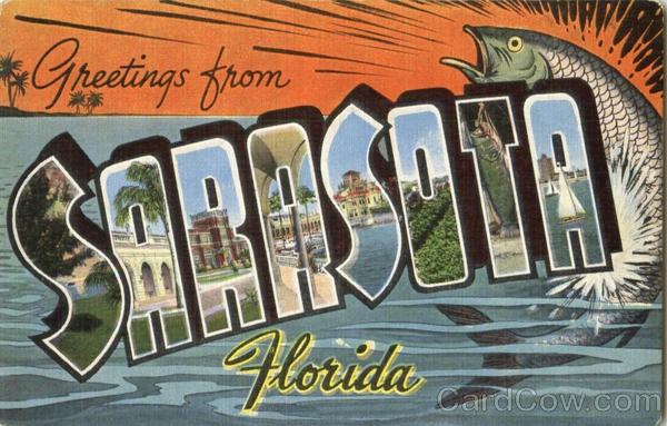 Greetings From Sarasota Florida Large Letter
