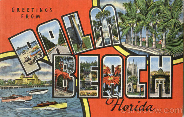 Greetings From Palm Beach Florida Large Letter