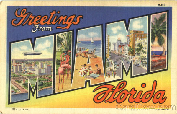Greetings From Miami Florida Large Letter