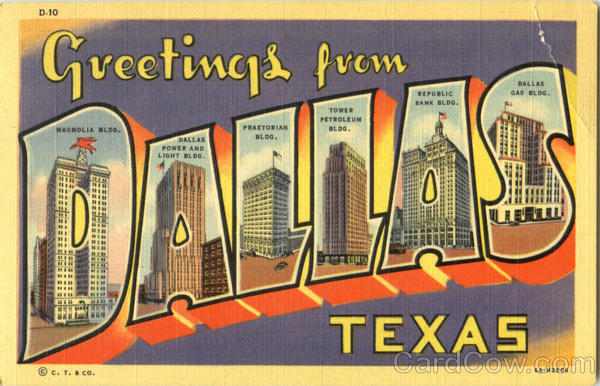 Greetings From Dallas Texas Large Letter