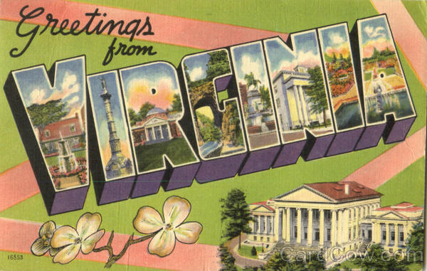 Greetings From Virginia Large Letter
