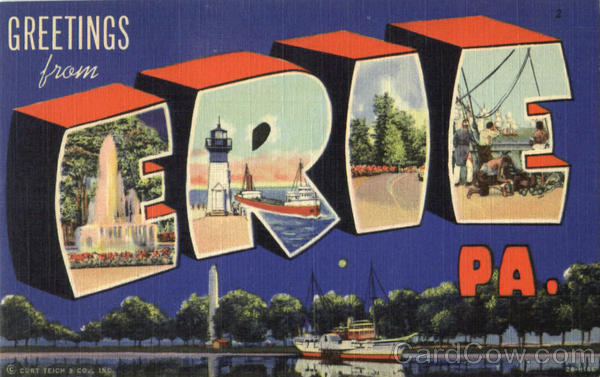 Greetings From Erie Pennsylvania Large Letter