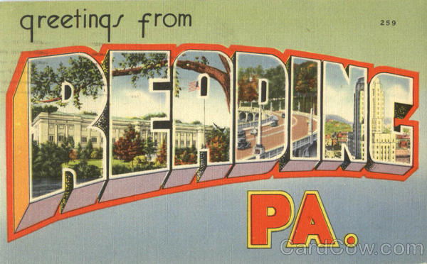 Greetings From Reading Pennsylvania Large Letter