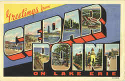 Greetings From Cedar Point on Lake Erie Postcard
