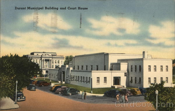 Municipal building and court house durant ok postcard for Building a house in oklahoma