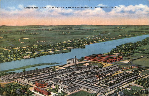 Aeroplane View of Plant of Fairbanks Morse & Co. Beloit Wisconsin