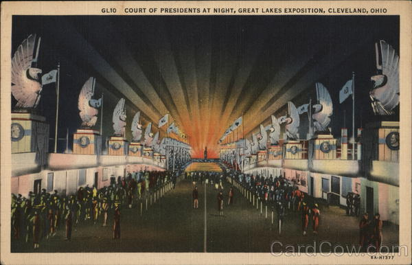Court of Presidents at Night, Great Lakes Exposition Cleveland Ohio