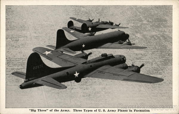 Big Three of the Army. Three Types of U. S. Army Planes in Formation
