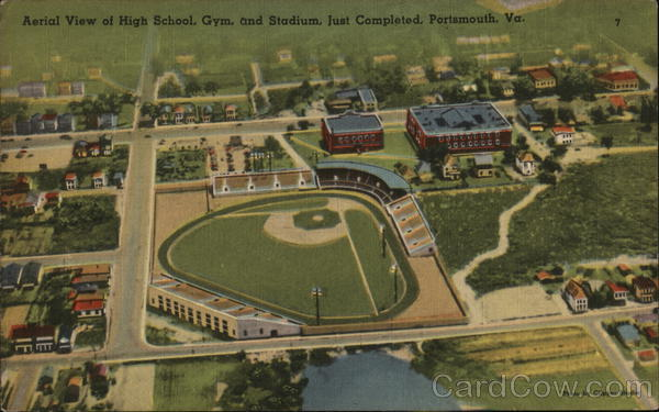 Aerial View of High School, Gym, and Stadium, Just Completed Portsmouth Virginia