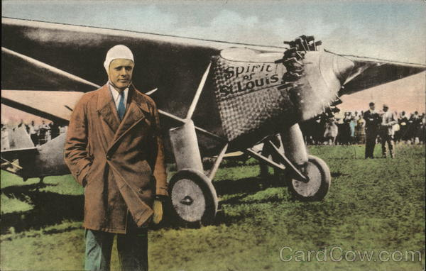 Colonel Charles A. Lindbergh with Spirit of St. Louis