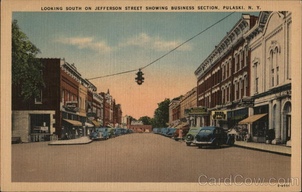 Looking South on Jefferson Street Showing Business Section Pulaski New York
