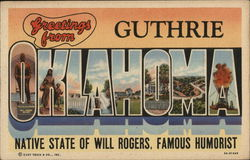 Greetings from Guthrie, Oklahoma Postcard