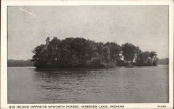 Big Island Opposite Epworth Forest, Webster Lake North Webster, IN Postcard
