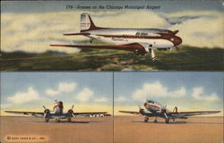Scenes at the Chicago Municipal Airport Postcard
