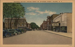 Business Section Looking North on Jefferson Street Postcard