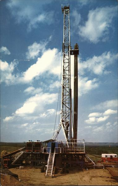 A Typical Drilling Scene Texas Oil Wells