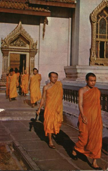 The Priests Leave the Temple Hall After Daily Sutra Bangkok Thailand