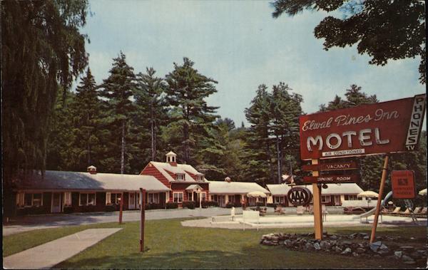 Elwal Pines Motor Inn Restaurant Williamstown MA Postcard