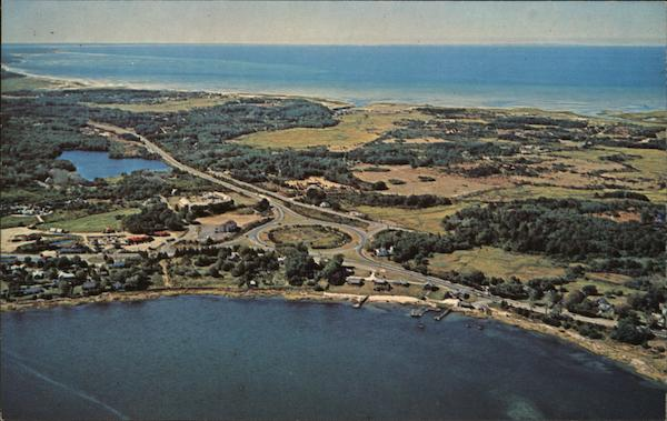 Aerial View From Town Cove To Cape Cod Bay Eastham Ma