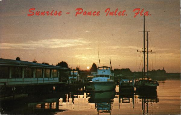 Sunrise Over Marina and Vessels Ponce Inlet Florida