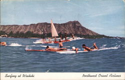 Surfing at Waikiki Postcard