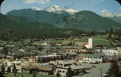 Long's Peak and Mt. Meeker from Estes Park Village Postcard