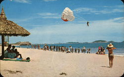"""Las Gaviotas"" Beach and the Parachute Ride Postcard"