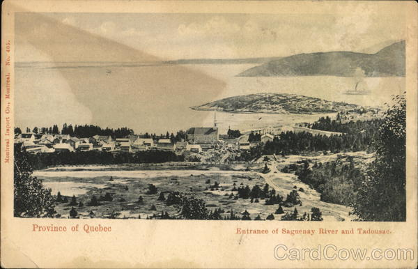 Entrance of Saguenay River and View of Town Tadoussac Canada