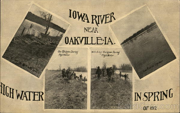 Iowa River - High Water, Spring 1912 Oakville