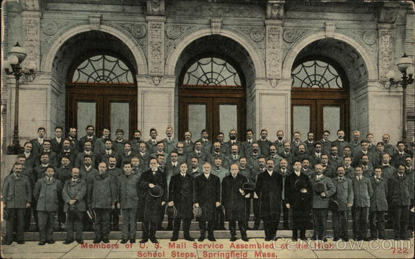 Members of U.S. mail Service Assembled at High School Steps Springfield Massachusetts