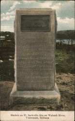 Marker on Ft. Sackville Site on Wabash River Postcard