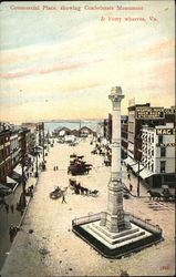 Commercial Place showing Confederate Monument & Ferry Wharves