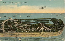 Cedar Point Viewed from Airship Postcard