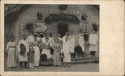 Waiters and Cooks Posing In Front of Dining Hall