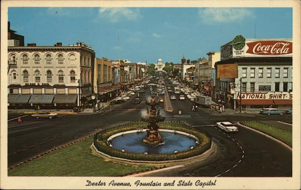 Dexter Avenue, Fountain and State Capitol Montgomery Alabama