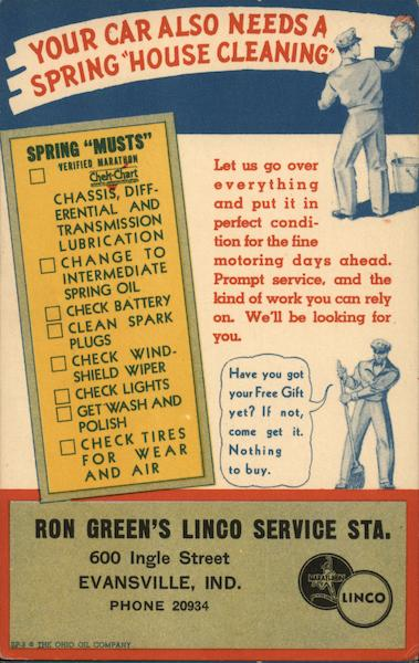 Ron Green's Linco Service Sta. Evansville Indiana Advertising