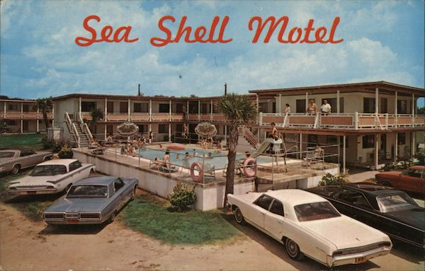 sea shell motel ocean drive beach sc postcard. Black Bedroom Furniture Sets. Home Design Ideas