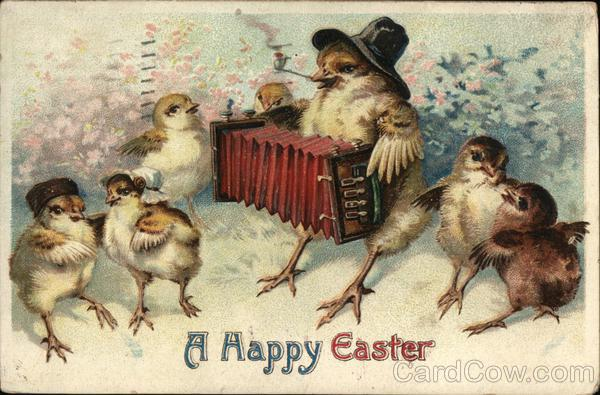 A Happy Easter - Chicks Singing and Playing Accordion