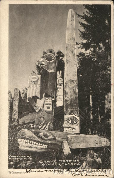 Grave Totems, Howkan, Alaska Winter R. Pond Native Americana