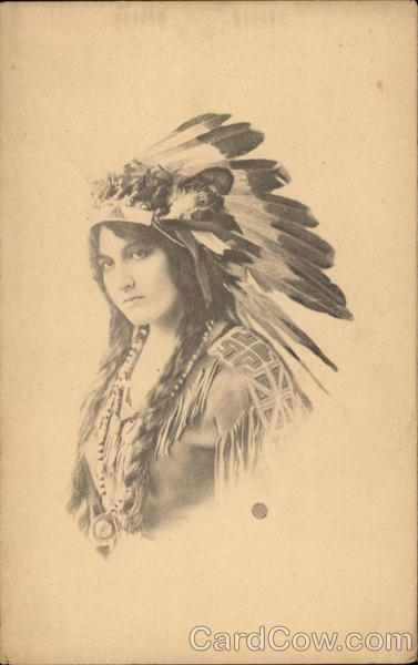 Photo of Woman in Indian Headress Native Americana
