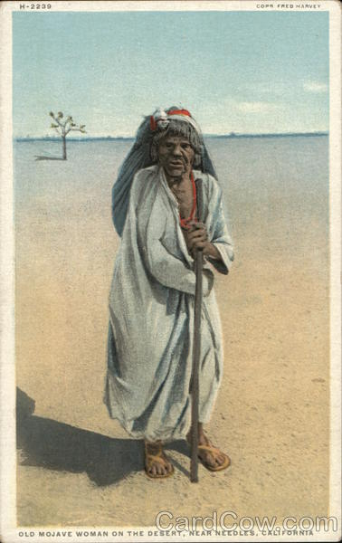 Old Mojave Woman on the Desert, near Needles, California