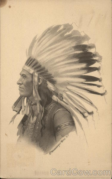 Drawing of Indian Chief Native Americana