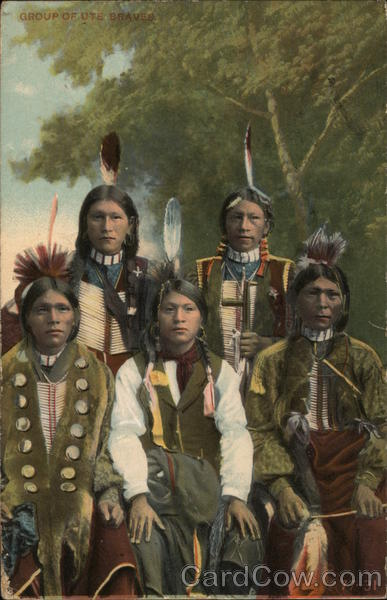 Group of Ute Braves Native Americana