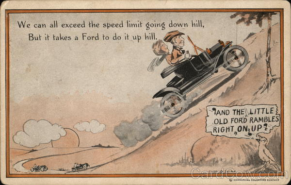 Man and Woman In Early Ford Going Up A Hill Cobb X Shinn