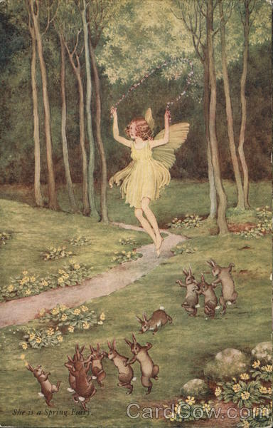 She Is A Spring Fairy - Bunnies and Fairy Dancing in Woods