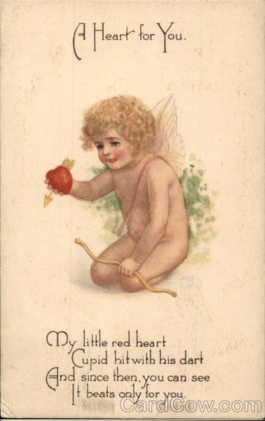 A Heart For You - Kneeling Cupid Offering Heart